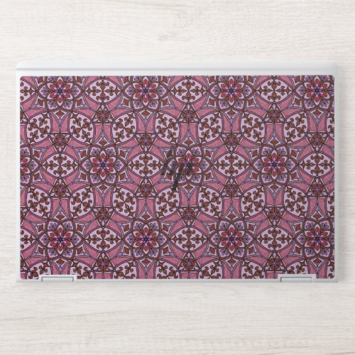 Geometric Pattern Fleur de Lis in Pink HP Laptop Skin