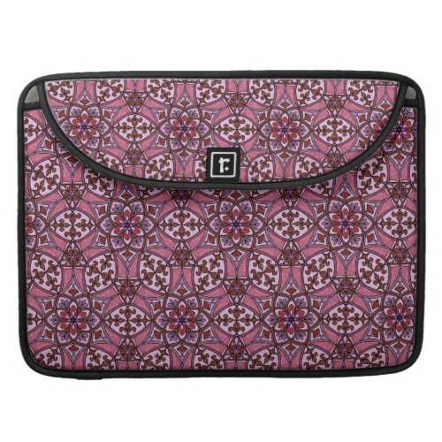 Geometric Pattern Fleur de Lis in Pink MacBook Pro Sleeve