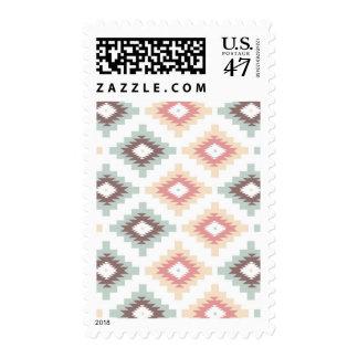 Geometric pattern in aztec style postage
