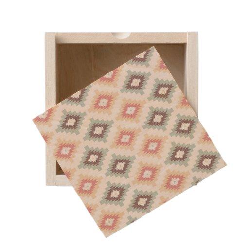 Geometric pattern in aztec style wooden keepsake box