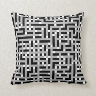 Geometric Pattern in Gray, Black and White. Throw Pillow