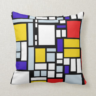 Geometric Pattern in Primary Color, Throw Pillow