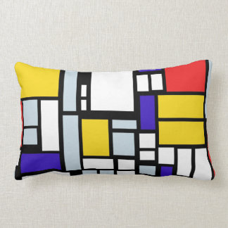 Geometric Pattern in Primary Color Throw Pillow