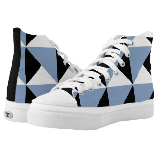 Geometric Pattern in Purple, Black and White High-Top Sneakers