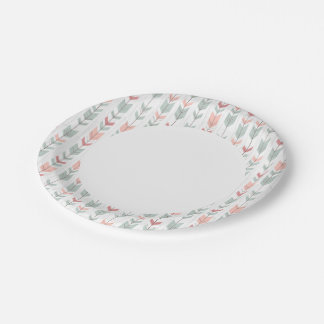 Geometric pattern in retro style paper plate