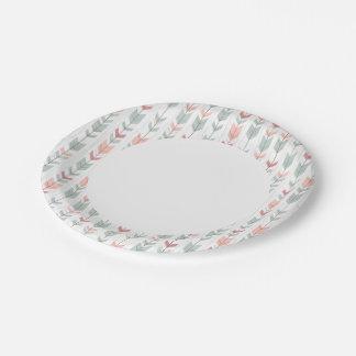 Geometric pattern in retro style paper plate