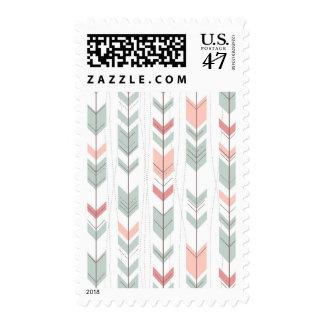 Geometric pattern in retro style postage