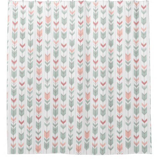 Geometric pattern in retro style shower curtain