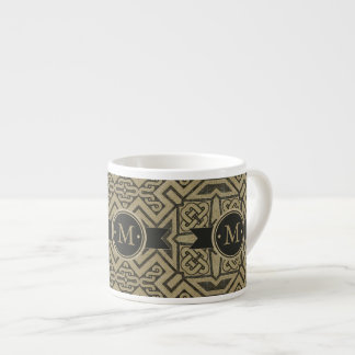 Geometric Pattern Monogram Black and Gold ID143 Espresso Cup