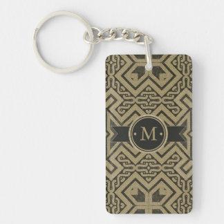 Geometric Pattern Monogram Black and Gold ID143 Keychain
