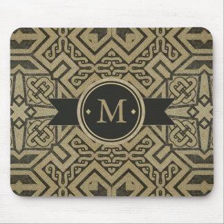 Geometric Pattern Monogram Black and Gold ID143 Mouse Pad