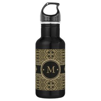 Geometric Pattern Monogram Black and Gold ID143 Water Bottle
