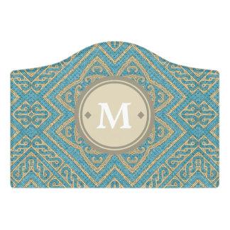 Geometric Pattern Monogram Turquoise Gold ID161 Door Sign