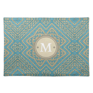 Geometric Pattern Monogram Turquoise Gold ID161 Placemat