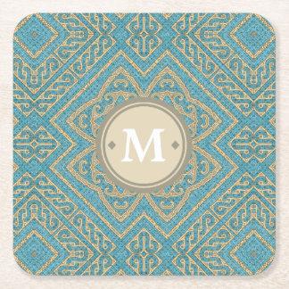 Geometric Pattern Monogram Turquoise Gold ID161 Square Paper Coaster