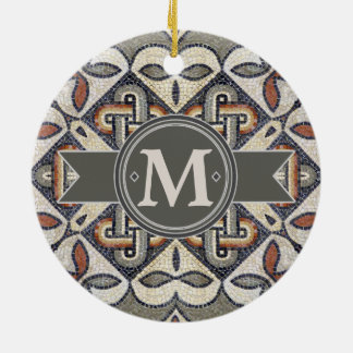 Geometric Pattern Monogram Warm Grey ID162 Ceramic Ornament