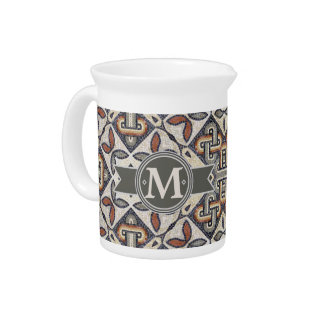 Geometric Pattern Monogram Warm Grey ID162 Drink Pitcher