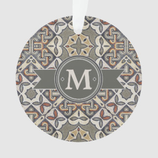 Geometric Pattern Monogram Warm Grey ID162 Ornament