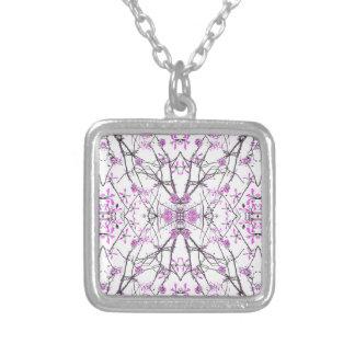 Geometric Pattern Nature Print Square Pendant Necklace