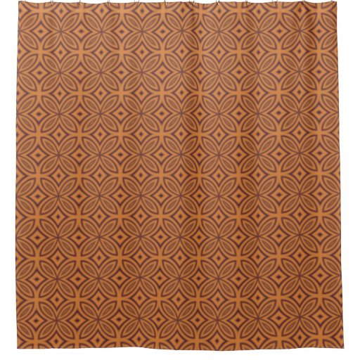 Geometric Pattern Orange And Brown Retro Tiles Shower Curtain Zazzle