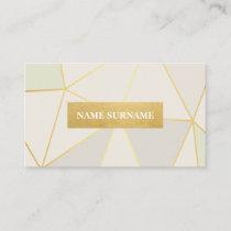 Geometric Pattern Pastel Beige Gold Business Card