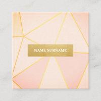 Geometric Pattern Peach Gold Square Business Card