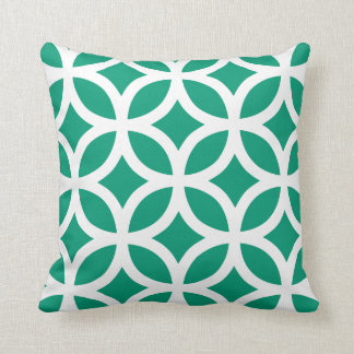 Geometric Pattern Pillow in Emerald Green