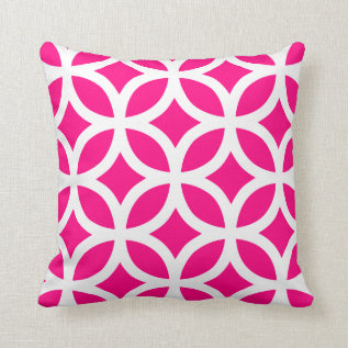 Geometric Pattern Pillow In Hot Pink at Zazzle