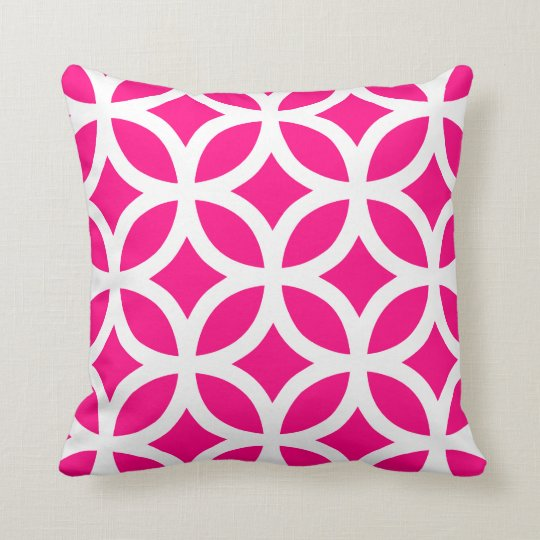 Geometric Pattern Pillow In Hot Pink Zazzle Com