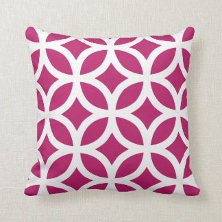 Geometric Pattern Pillow in Madder Carmine Red