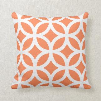 Geometric Pattern Pillow in Nectarine Orange