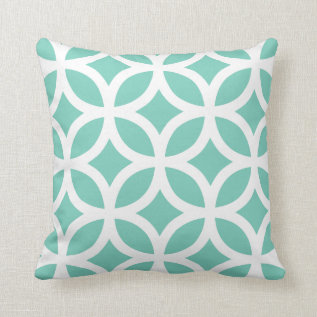 Geometric Pattern Pillow In Turquoise at Zazzle