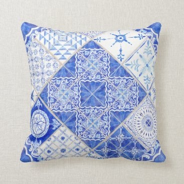 Beach Themed Geometric Pattern Rustic Modern Farmhouse Tile Throw Pillow