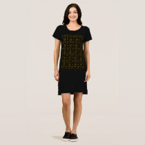 Geometric Pattern Shiny Black Gold Elegant Dress