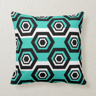 Geometric pattern with White Stripes Throw Pillow