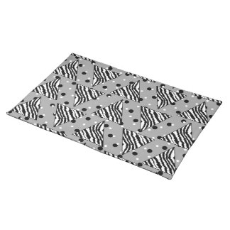 Geometric Pattern with Zebra Stripes and Dots. Cloth Place Mat
