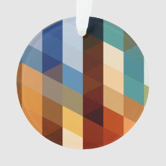 Geometric Patterns   Blue and Orange Triangles Ornament