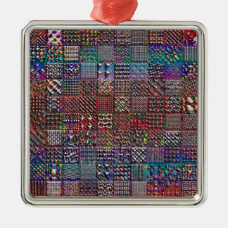 geometric patterns collection square metal christmas ornament