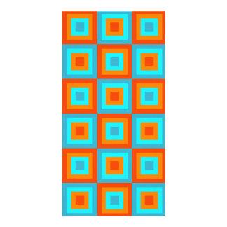 Geometric Patterns Color Turquoise Orange Card