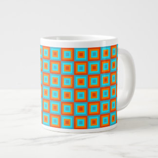 Geometric Patterns Color Turquoise Orange Giant Coffee Mug
