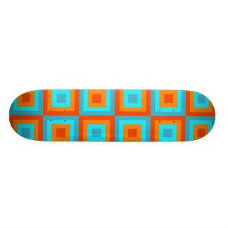 Geometric Patterns Color Turquoise Orange Skateboard Deck