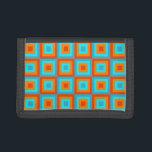 "Geometric Patterns Color Turquoise Orange Tri-fold Wallet<br><div class=""desc"">Beautiful turquoise orange geometric patterns is the perfect gift for those who love colorful modern geometric art patterns,  geometric shapes and color.</div>"