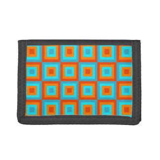 Geometric Patterns Color Turquoise Orange Tri-fold Wallet