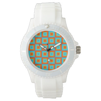 Geometric Patterns Color Turquoise Orange Wrist Watches