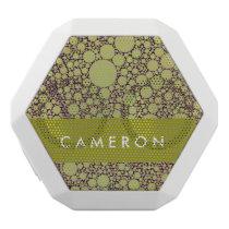 Geometric Patterns | Green and Orange Circles White Bluetooth Speaker
