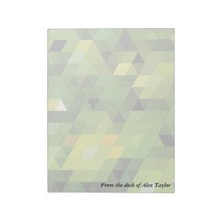 Geometric Patterns | Green triangles Note Pad