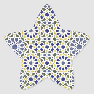 Geometric Patterns in Yellow and Blue Star Sticker