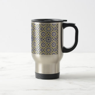 Geometric Patterns in Yellow and Blue Travel Mug