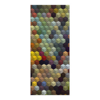 Geometric Patterns | Multicolored cubes and square 4x9.25 Paper Invitation Card