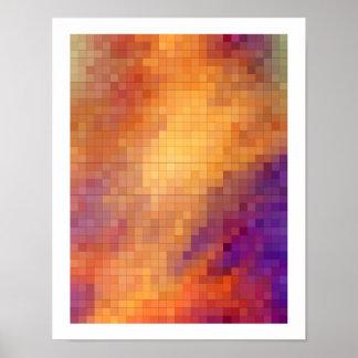 Geometric Patterns | Orange and Purple Squares Poster